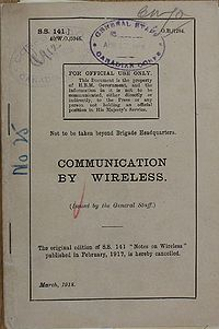 Communication by Wireless (SS.141) March 1918 - Title page.jpg