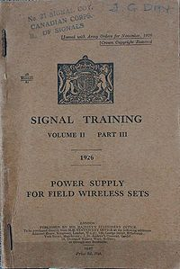 Signal Training Volume II, Part III, Power Supply for Field Wireless Sets, 1926 - Title page.jpg