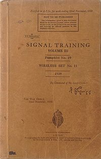 Signal Training Volume III, Pamphlet No. 19, Wireless Set No. 11, 1939 - Title page.jpg