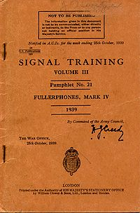 Signal Training Volume III, Pamphlet No. 21, Fullerphones Mark IV, 1939 - Title page.jpg