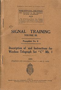Signal Training Volume III, Pamphlet No. 8, Wireless Telegraph Set C Mk I, 1928 - Title page.jpg